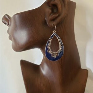 Jewelry - Blue Enamel Tear Drop Earrings